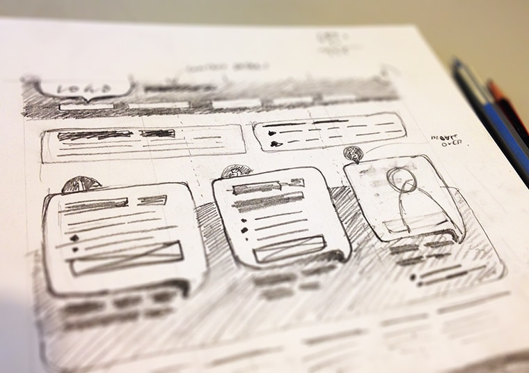 website wireframe hand drawn