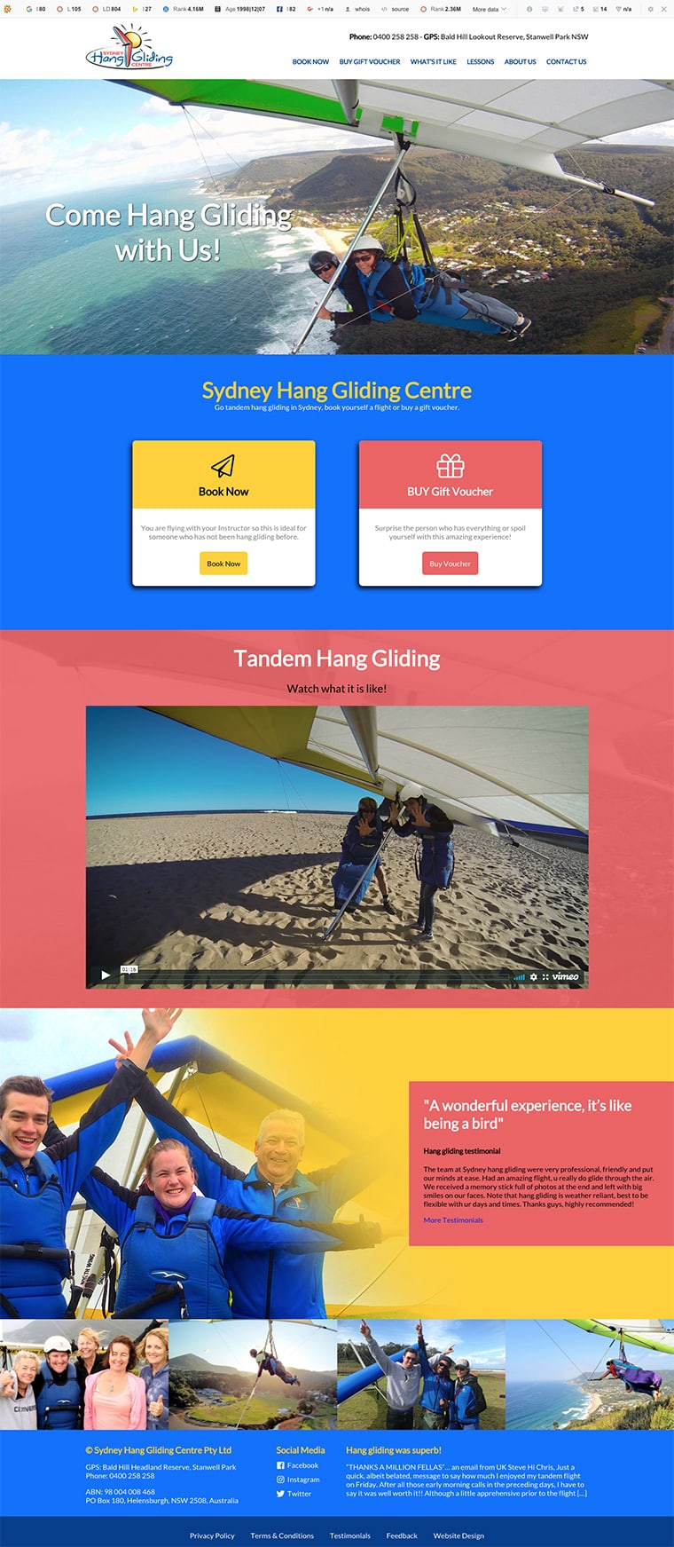 hang gliding sydney website