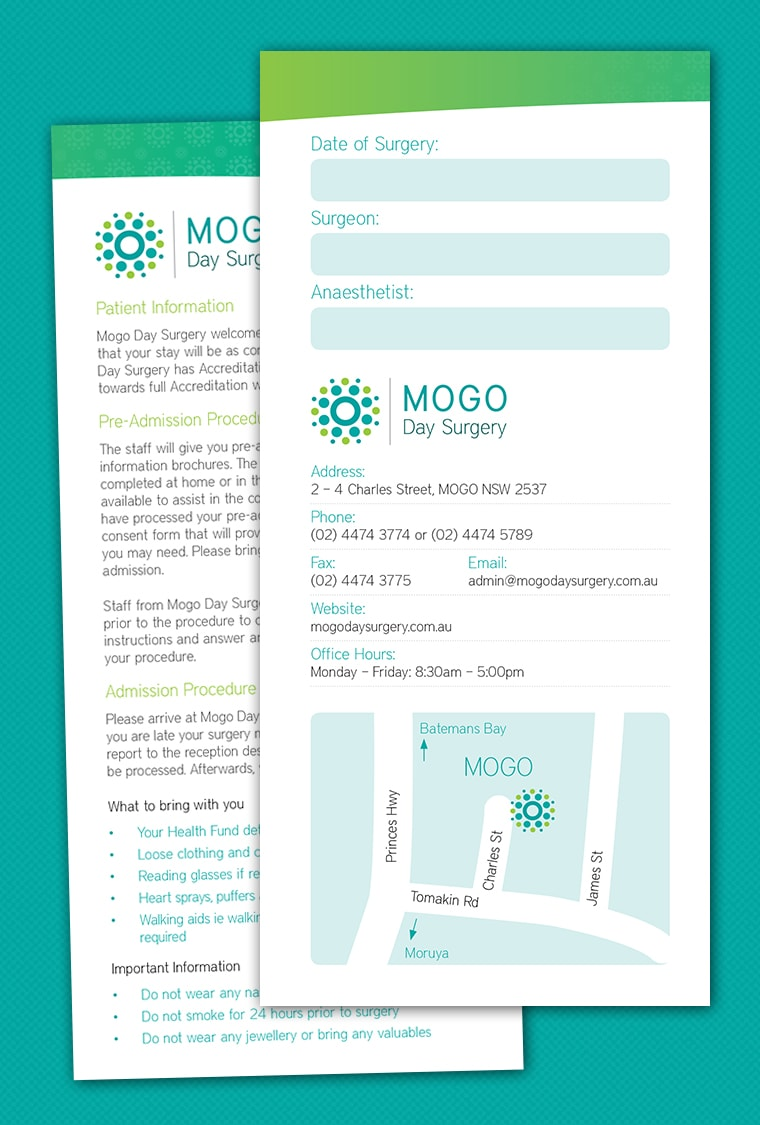 mogo day surgery brochure design