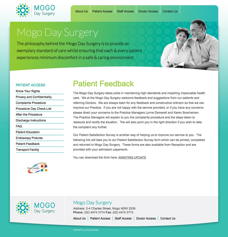 Mogo surgery website design