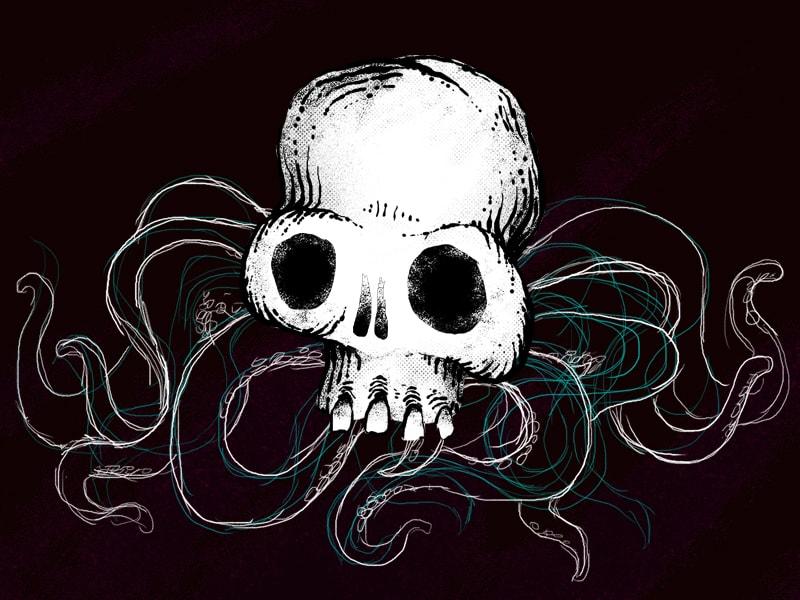 spider octopus skull