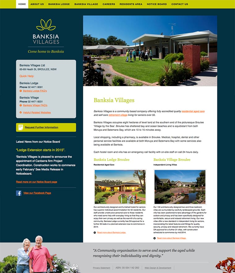retirement village website